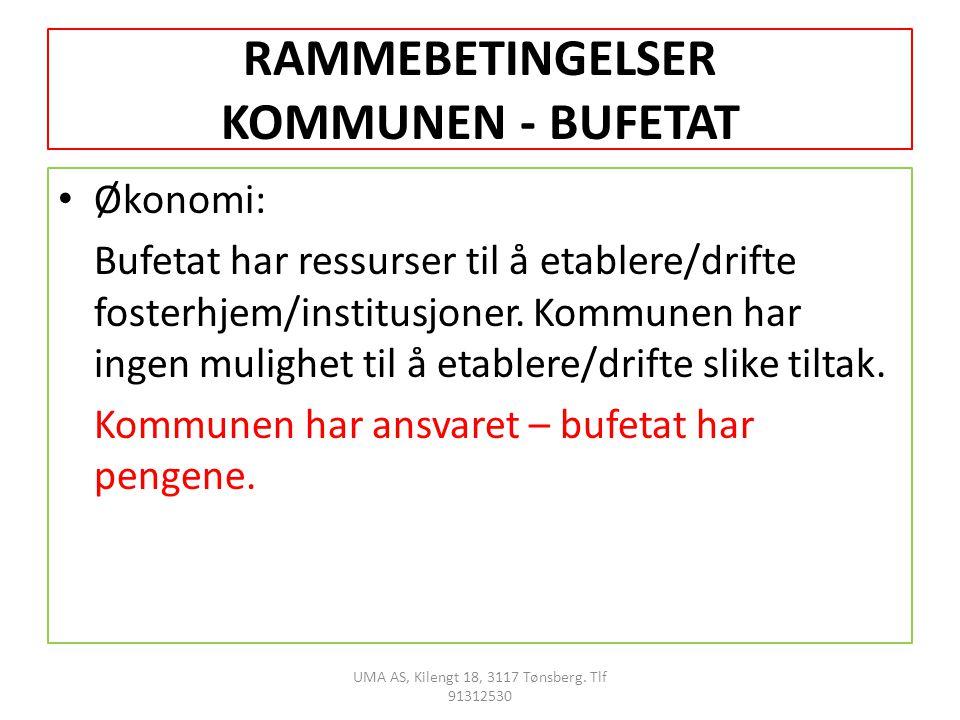 RAMMEBETINGELSER KOMMUNEN - BUFETAT Økonomi: Bufetat har ressurser til å etablere/drifte fosterhjem/institusjoner.
