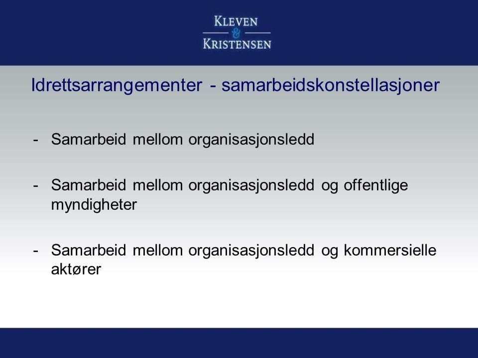 Idrettsarrangementer - samarbeidskonstellasjoner -Samarbeid mellom organisasjonsledd -Samarbeid mellom organisasjonsledd og offentlige myndigheter -Sa