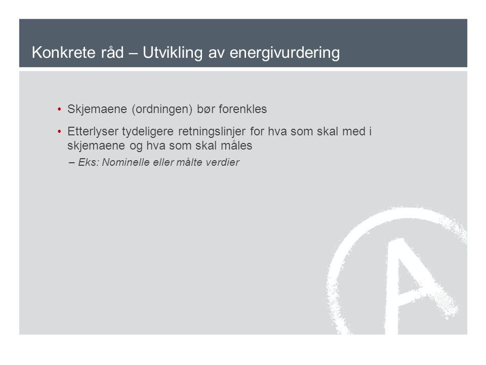 Konkrete råd – Utvikling av energivurdering Skjemaene (ordningen) bør forenkles Etterlyser tydeligere retningslinjer for hva som skal med i skjemaene og hva som skal måles –Eks: Nominelle eller målte verdier