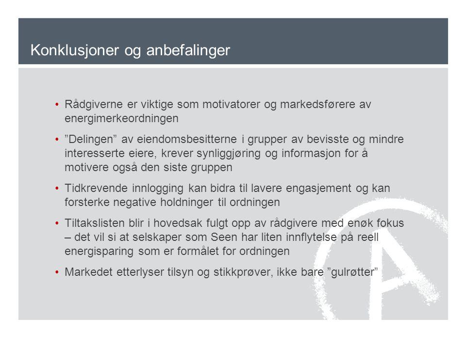 Konklusjoner og anbefalinger Rådgiverne er viktige som motivatorer og markedsførere av energimerkeordningen Delingen av eiendomsbesitterne i grupper av bevisste og mindre interesserte eiere, krever synliggjøring og informasjon for å motivere også den siste gruppen Tidkrevende innlogging kan bidra til lavere engasjement og kan forsterke negative holdninger til ordningen Tiltakslisten blir i hovedsak fulgt opp av rådgivere med enøk fokus – det vil si at selskaper som Seen har liten innflytelse på reell energisparing som er formålet for ordningen Markedet etterlyser tilsyn og stikkprøver, ikke bare gulrøtter