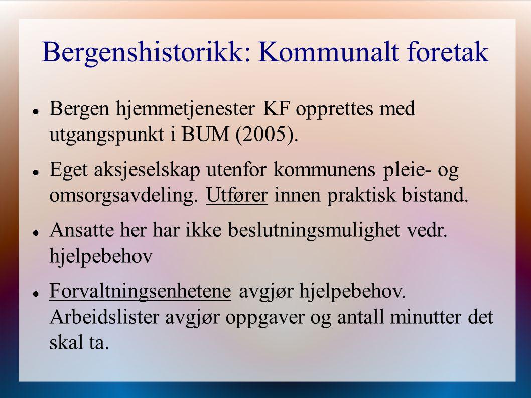 Bergenshistorikk: Kommunalt foretak Bergen hjemmetjenester KF opprettes med utgangspunkt i BUM (2005). Eget aksjeselskap utenfor kommunens pleie- og o