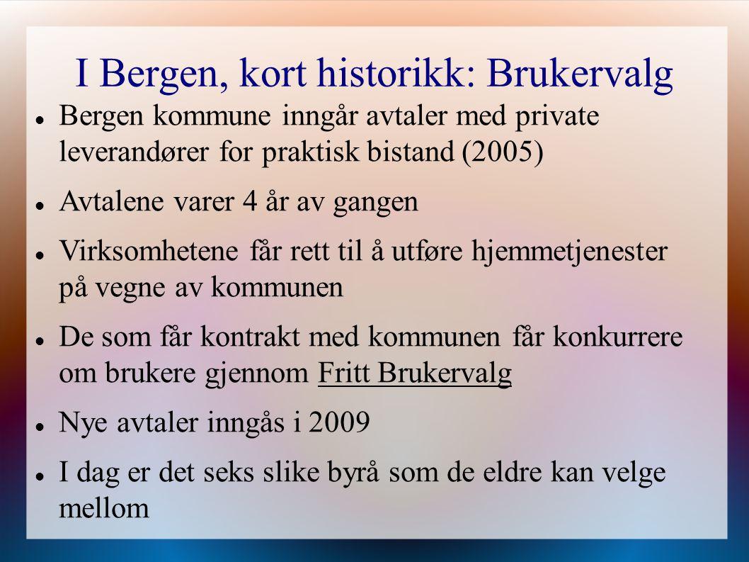 I Bergen, kort historikk: Brukervalg Bergen kommune inngår avtaler med private leverandører for praktisk bistand (2005) Avtalene varer 4 år av gangen