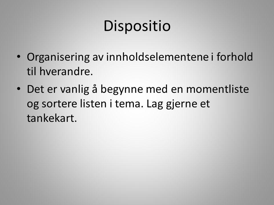 Dispositio Organisering av innholdselementene i forhold til hverandre.