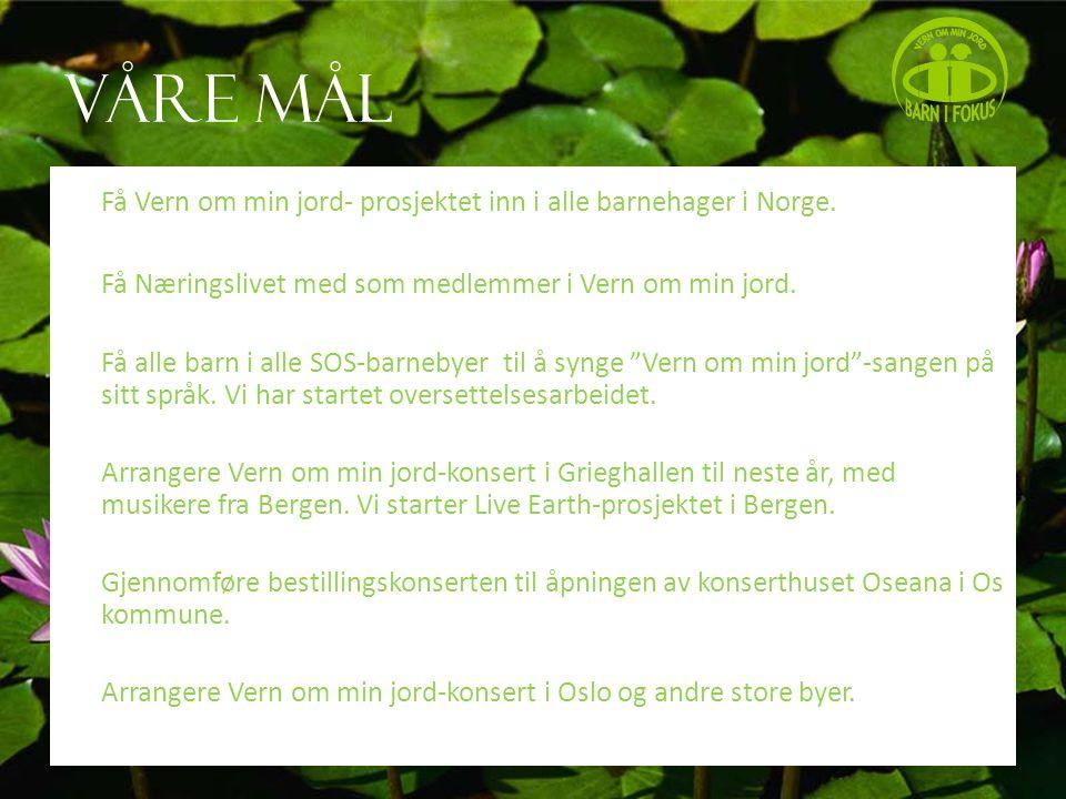 Våre mål Få Vern om min jord- prosjektet inn i alle barnehager i Norge.