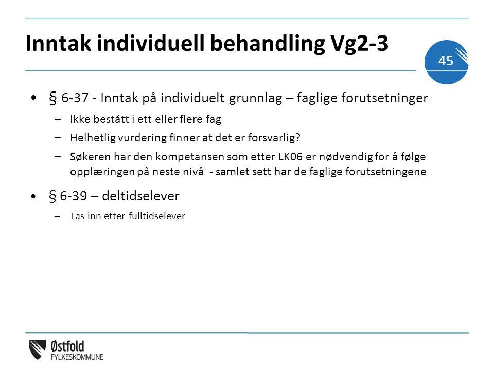Inntak individuell behandling Vg2-3 § 6-37 - Inntak på individuelt grunnlag – faglige forutsetninger –Ikke bestått i ett eller flere fag –Helhetlig vurdering finner at det er forsvarlig.