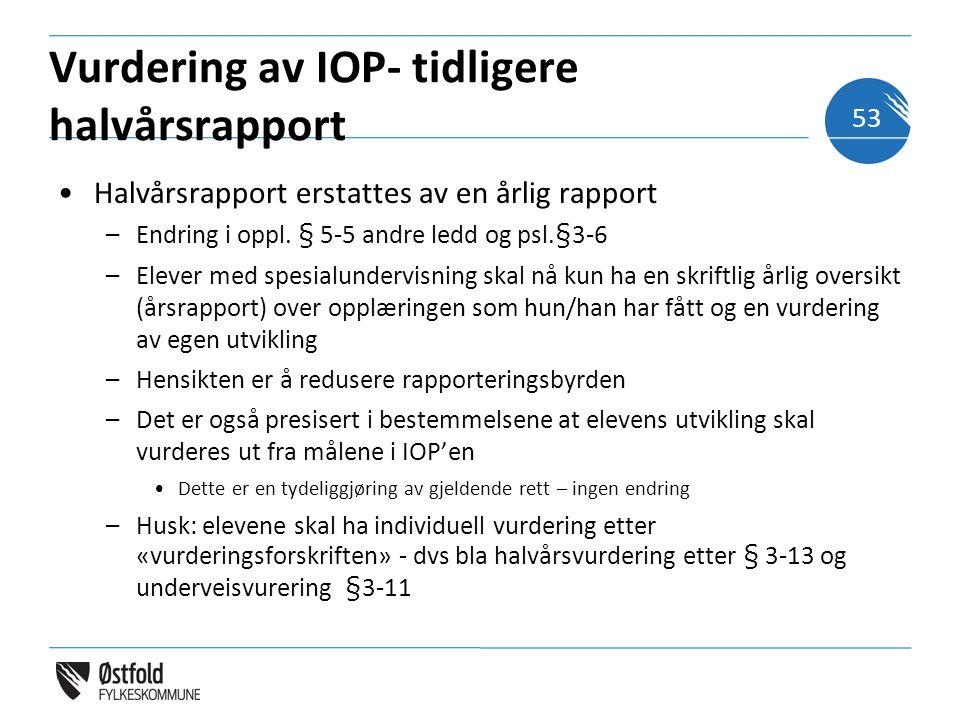 Vurdering av IOP- tidligere halvårsrapport Halvårsrapport erstattes av en årlig rapport –Endring i oppl.