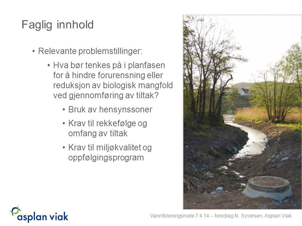 Relevante problemstillinger: Hva bør tenkes på i planfasen for å hindre forurensning eller reduksjon av biologisk mangfold ved gjennomføring av tiltak