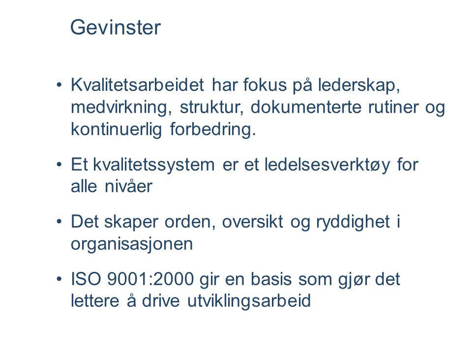 •ISO hjelper til med systematikken i forbedringsarbeidet. Få orden i eget hus •Fordel at eksterne kommer og ser en i kortene og sjekker: Gjør en det e