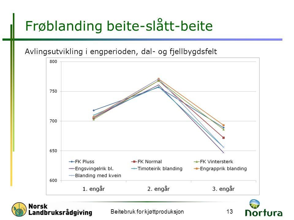 Frøblanding beite-slått-beite Avlingsutvikling i engperioden, dal- og fjellbygdsfelt Beitebruk for kjøttproduksjon13