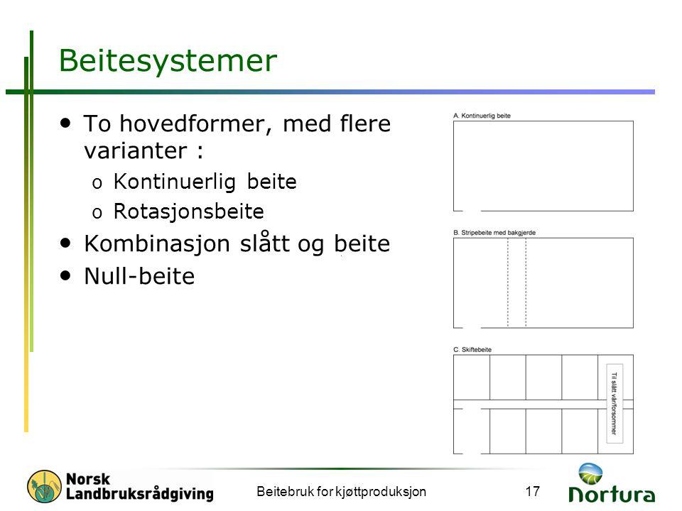 Beitesystemer Beitebruk for kjøttproduksjon17 • To hovedformer, med flere varianter : o Kontinuerlig beite o Rotasjonsbeite • Kombinasjon slått og beite • Null-beite