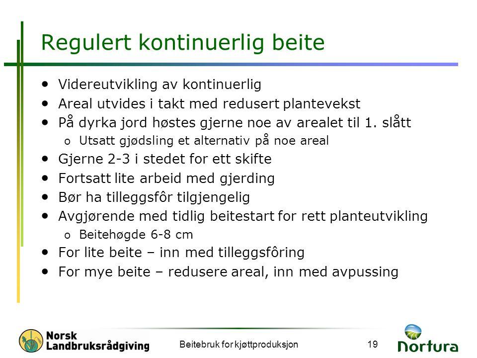 Regulert kontinuerlig beite • Videreutvikling av kontinuerlig • Areal utvides i takt med redusert plantevekst • På dyrka jord høstes gjerne noe av arealet til 1.