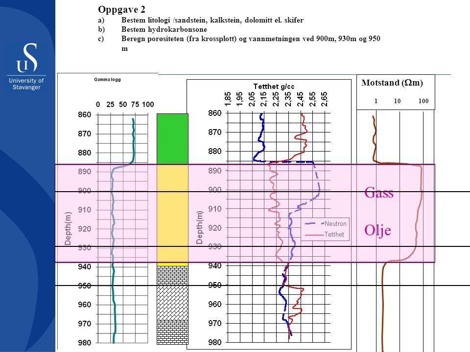 Motstand (  m) 1 10 100 Oppgave 2 a)Bestem litologi /sandstein, kalkstein, dolomitt el. skifer b)Bestem hydrokarbonsone c)Beregn porøsiteten (fra kro