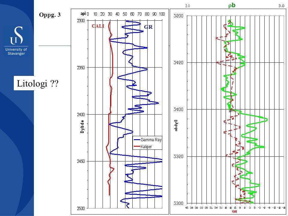 GR 2.0 b 3.0 CALI Litologi ?? Oppg. 3