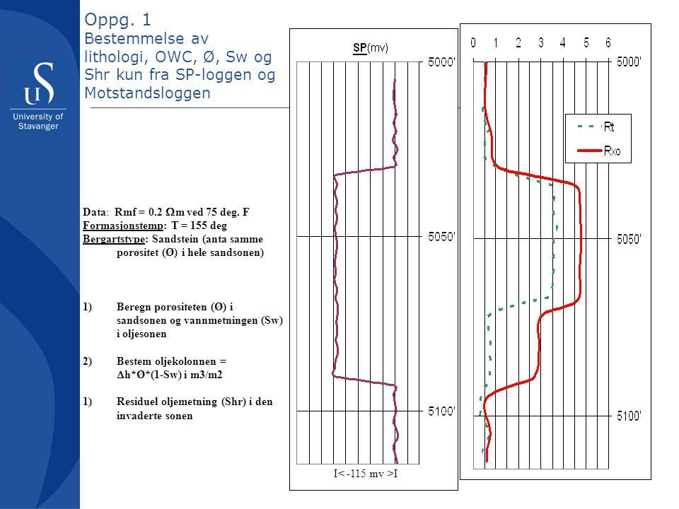 Oppg. 1 Bestemmelse av lithologi, OWC, Ø, Sw og Shr kun fra SP-loggen og Motstandsloggen Data: Rmf = 0.2  m ved 75 deg. F Formasjonstemp: T = 155 deg