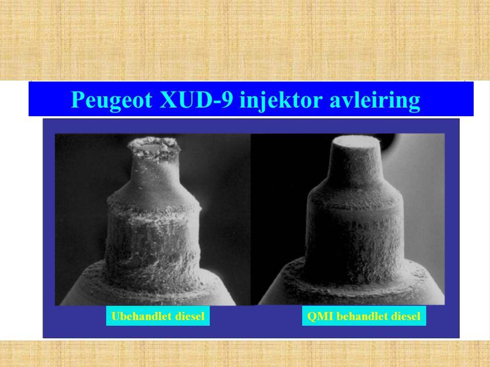 Peugeot XUD-9 injektor avleiring Ubehandlet dieselQMI behandlet diesel
