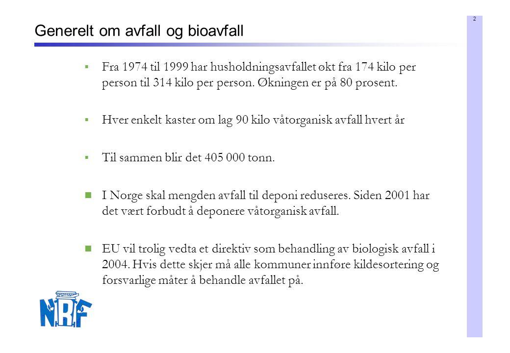 2 Generelt om avfall og bioavfall  Fra 1974 til 1999 har husholdningsavfallet økt fra 174 kilo per person til 314 kilo per person. Økningen er på 80