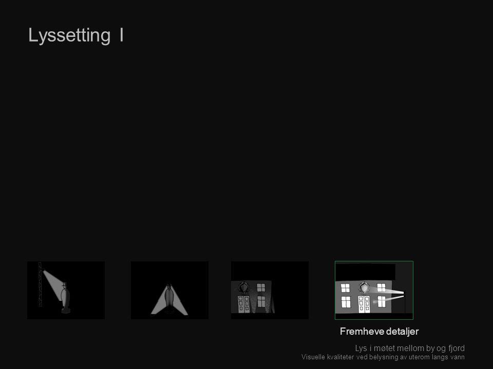 Lyssetting I Fremheve detaljer Lys i møtet mellom by og fjord Visuelle kvaliteter ved belysning av uterom langs vann