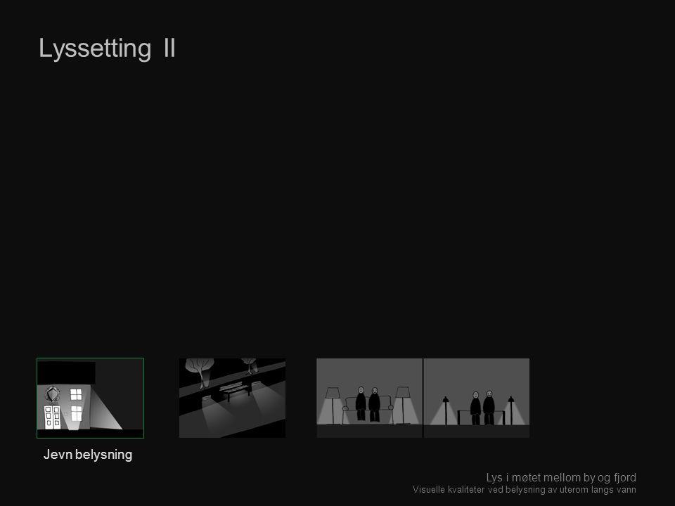 Lyssetting II Jevn belysning Lys i møtet mellom by og fjord Visuelle kvaliteter ved belysning av uterom langs vann