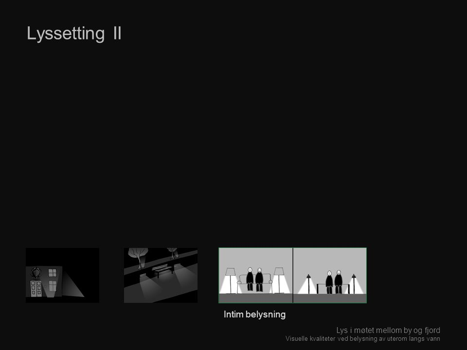 Lyssetting II Intim belysning Lys i møtet mellom by og fjord Visuelle kvaliteter ved belysning av uterom langs vann