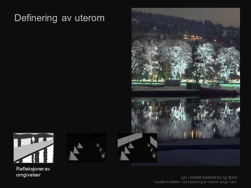 Definering av uterom Refleksjoner av omgivelser Lys i møtet mellom by og fjord Visuelle kvaliteter ved belysning av uterom langs vann