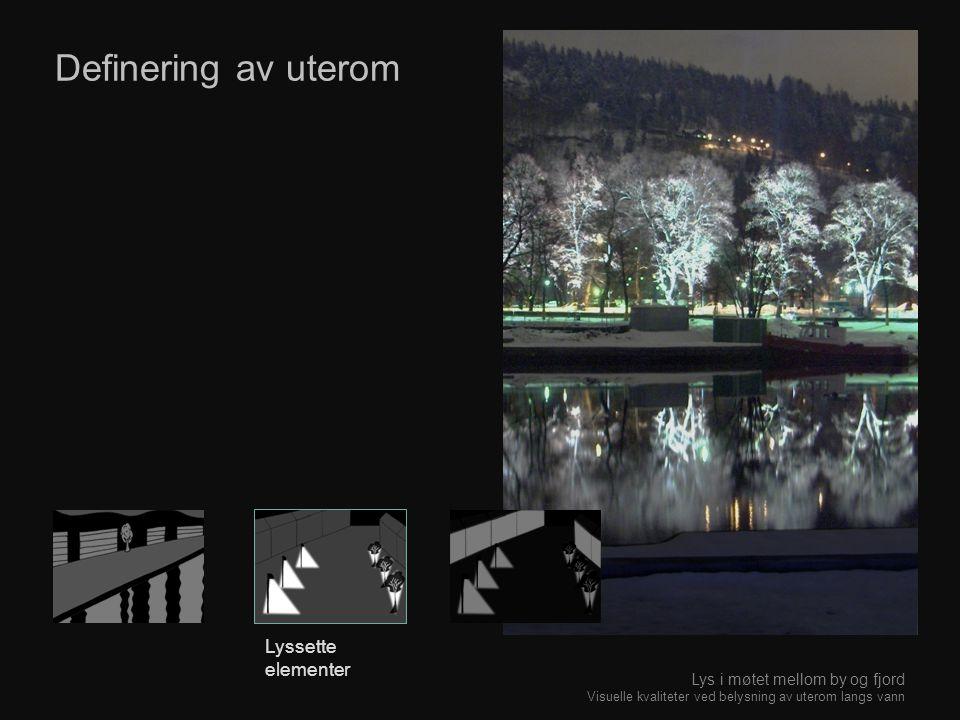 Definering av uterom Lyssette elementer Lys i møtet mellom by og fjord Visuelle kvaliteter ved belysning av uterom langs vann