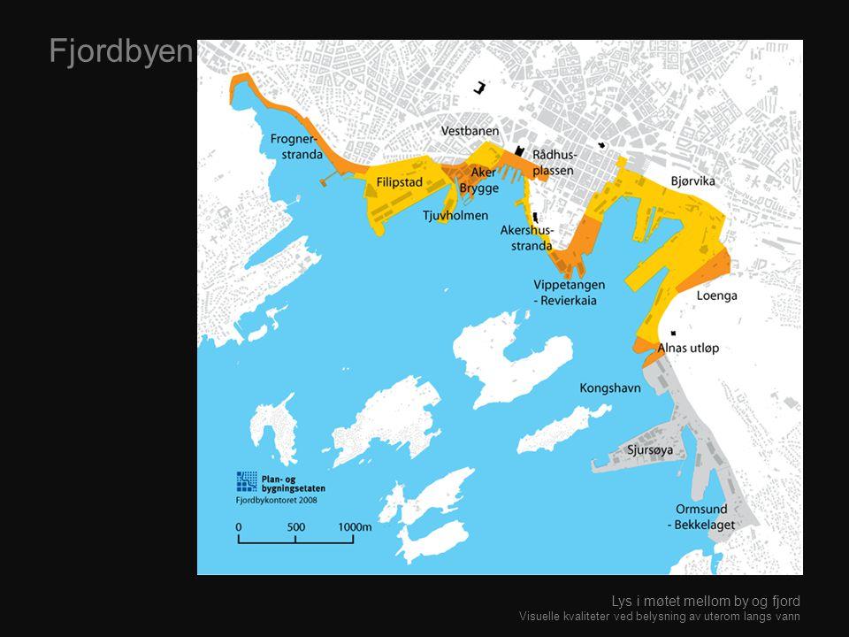 Fjordbyen Lys i møtet mellom by og fjord Visuelle kvaliteter ved belysning av uterom langs vann