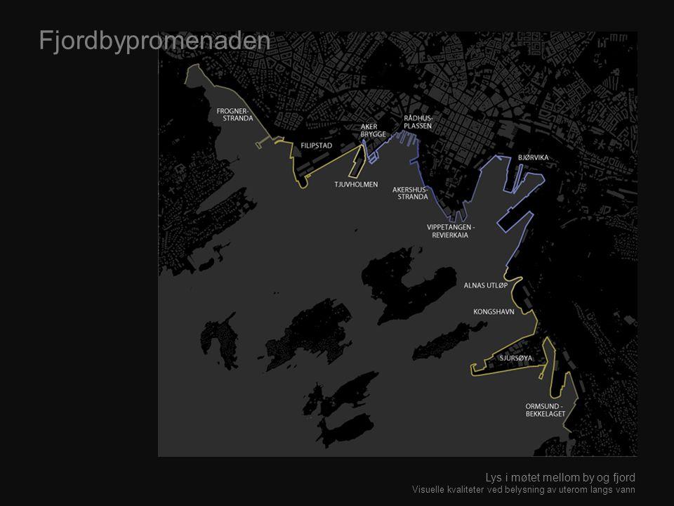 Fjordbypromenaden Lys i møtet mellom by og fjord Visuelle kvaliteter ved belysning av uterom langs vann