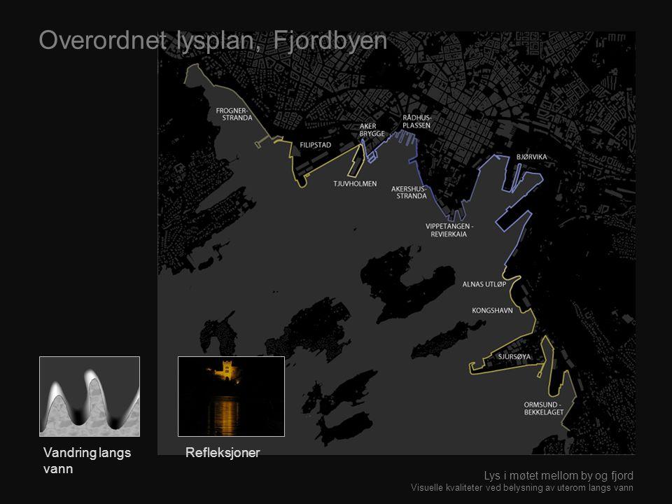 Overordnet lysplan, Fjordbyen Vandring langs vann Refleksjoner Lys i møtet mellom by og fjord Visuelle kvaliteter ved belysning av uterom langs vann