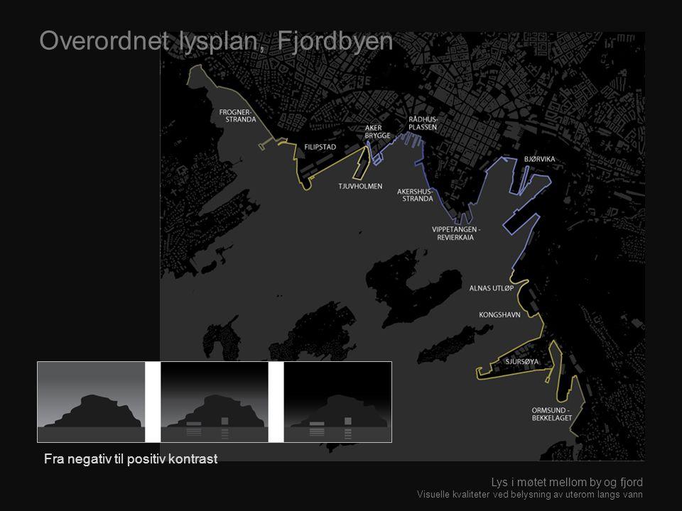 Overordnet lysplan, Fjordbyen Fra negativ til positiv kontrast Lys i møtet mellom by og fjord Visuelle kvaliteter ved belysning av uterom langs vann