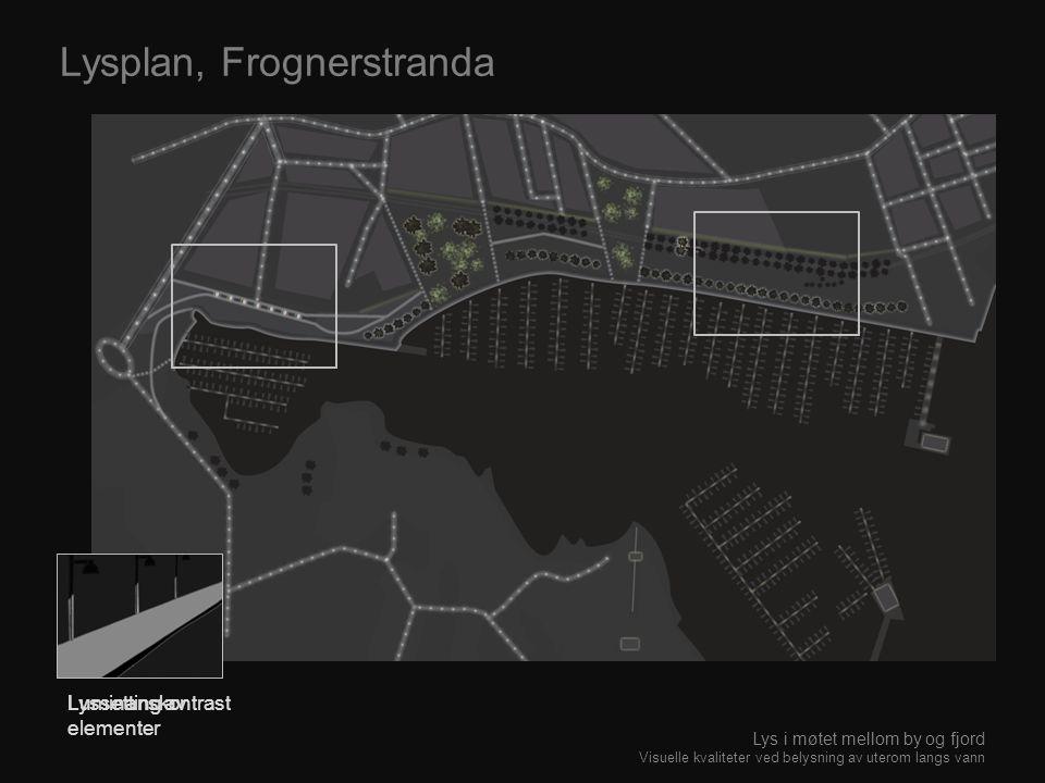 Lyssetting av elementer Lysplan, Frognerstranda Luminanskontrast Lys i møtet mellom by og fjord Visuelle kvaliteter ved belysning av uterom langs vann
