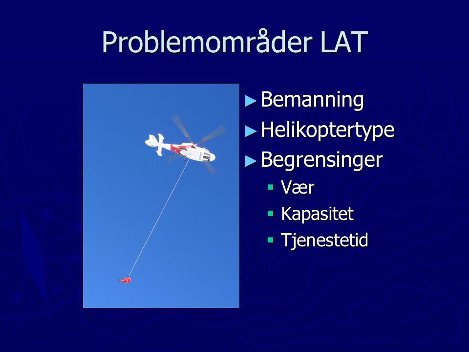 Problemområder LAT ► Bemanning ► Helikoptertype ► Begrensinger  Vær  Kapasitet  Tjenestetid