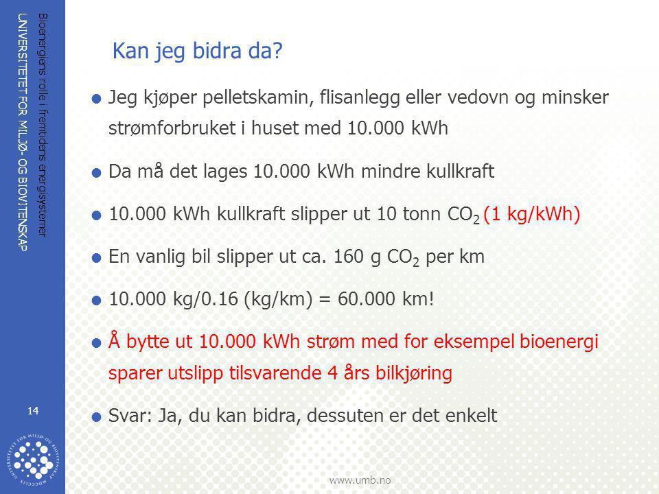 UNIVERSITETET FOR MILJØ- OG BIOVITENSKAP www.umb.no Bioenergiens rolle i fremtidens energisystemer 14 Kan jeg bidra da?  Jeg kjøper pelletskamin, fli