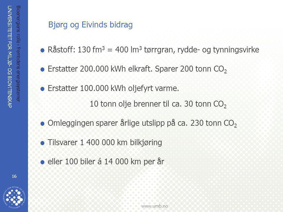 UNIVERSITETET FOR MILJØ- OG BIOVITENSKAP www.umb.no Bioenergiens rolle i fremtidens energisystemer 16 Bjørg og Eivinds bidrag  Råstoff: 130 fm 3 = 40