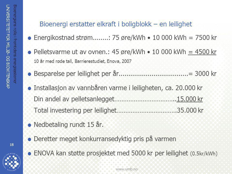 UNIVERSITETET FOR MILJØ- OG BIOVITENSKAP www.umb.no Bioenergiens rolle i fremtidens energisystemer 18 Bioenergi erstatter elkraft i boligblokk – en le