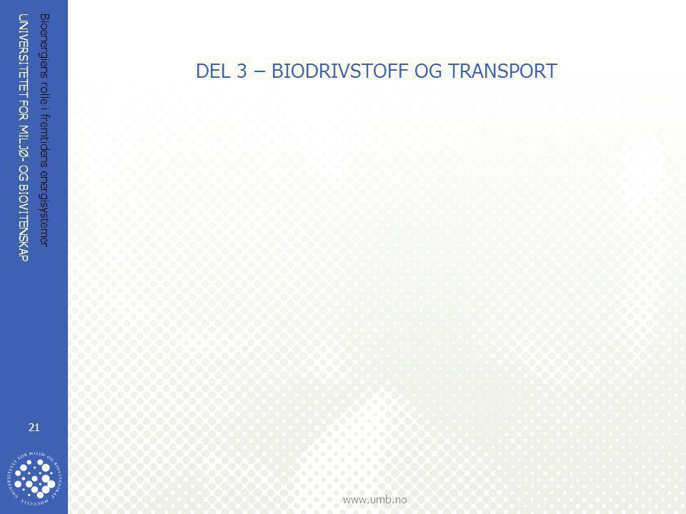 UNIVERSITETET FOR MILJØ- OG BIOVITENSKAP www.umb.no Bioenergiens rolle i fremtidens energisystemer 21 DEL 3 – BIODRIVSTOFF OG TRANSPORT