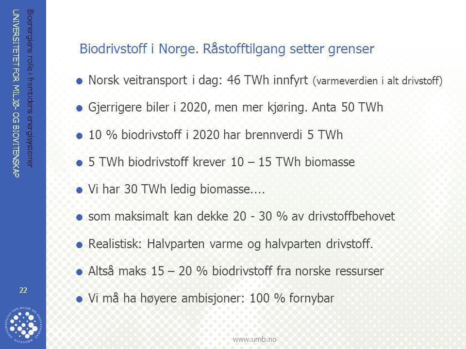 UNIVERSITETET FOR MILJØ- OG BIOVITENSKAP www.umb.no Bioenergiens rolle i fremtidens energisystemer 22 Biodrivstoff i Norge. Råstofftilgang setter gren
