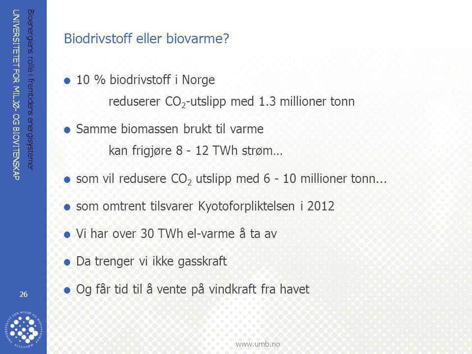 UNIVERSITETET FOR MILJØ- OG BIOVITENSKAP www.umb.no Bioenergiens rolle i fremtidens energisystemer 26 Biodrivstoff eller biovarme?  10 % biodrivstoff