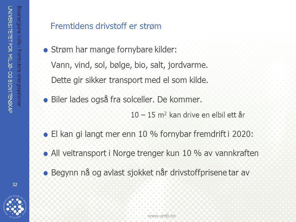 UNIVERSITETET FOR MILJØ- OG BIOVITENSKAP www.umb.no Bioenergiens rolle i fremtidens energisystemer 32 Fremtidens drivstoff er strøm  Strøm har mange