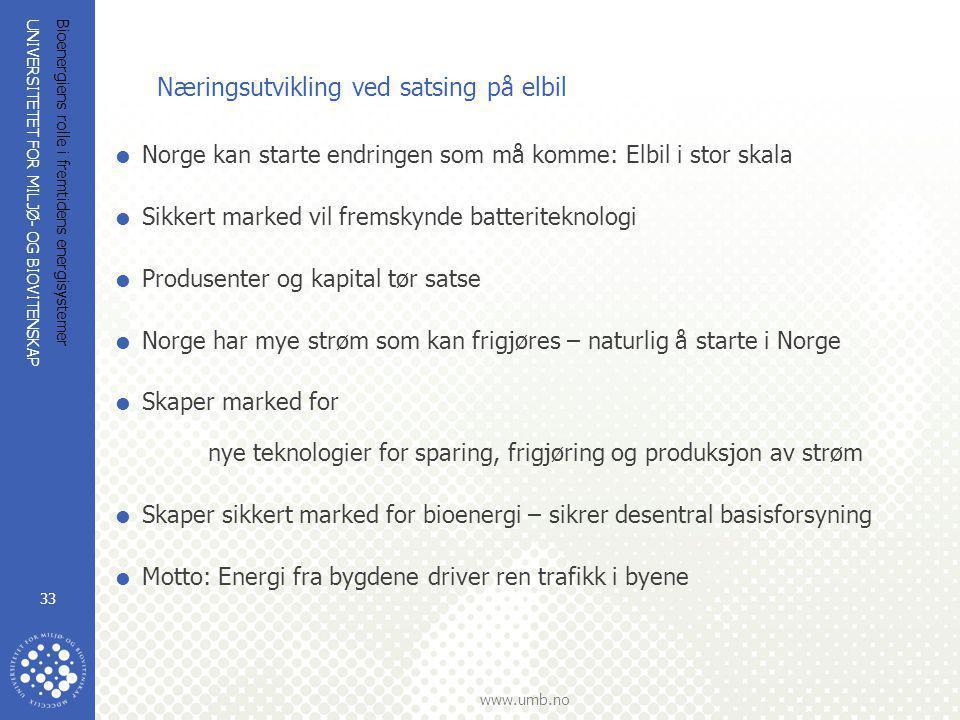 UNIVERSITETET FOR MILJØ- OG BIOVITENSKAP www.umb.no Bioenergiens rolle i fremtidens energisystemer 33 Næringsutvikling ved satsing på elbil  Norge ka