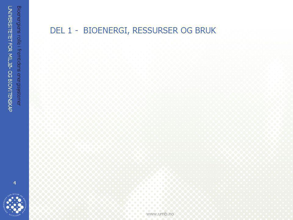 UNIVERSITETET FOR MILJØ- OG BIOVITENSKAP www.umb.no Bioenergiens rolle i fremtidens energisystemer 4 DEL 1 - BIOENERGI, RESSURSER OG BRUK