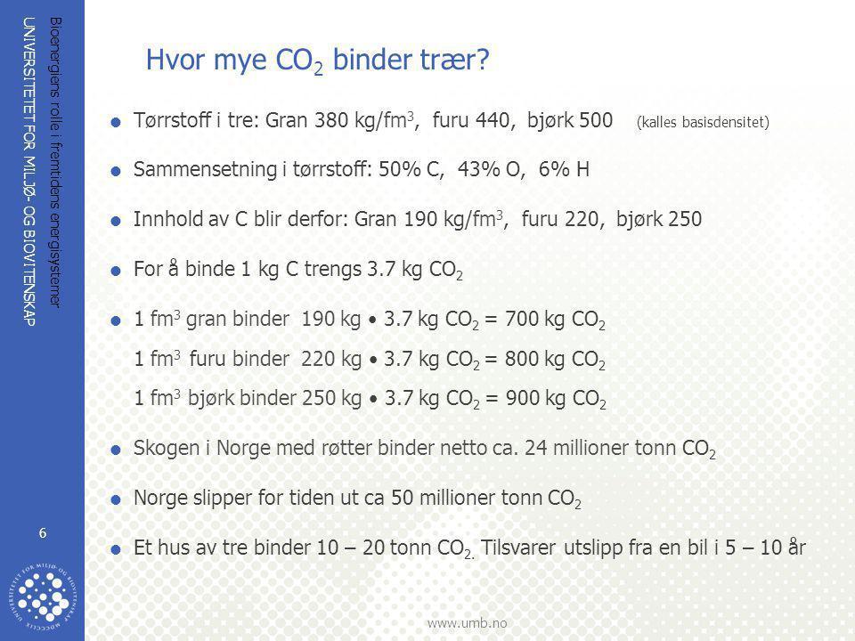 UNIVERSITETET FOR MILJØ- OG BIOVITENSKAP www.umb.no Bioenergiens rolle i fremtidens energisystemer 6 Hvor mye CO 2 binder trær?  Tørrstoff i tre: Gra