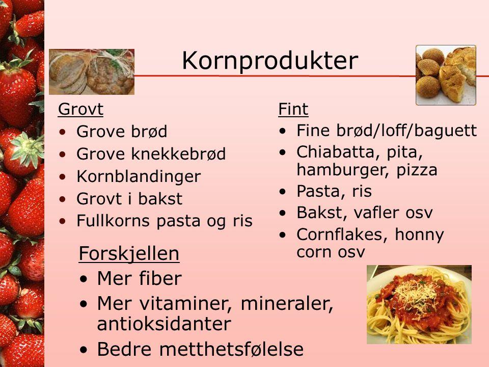 Råd 4 - Karbohydrater •Spis grove kornprodukter hver dag •De bør til sammen gi 70-90 gr sammalt mel eller fullkorn hver dag •Velg kornprodukter med hø