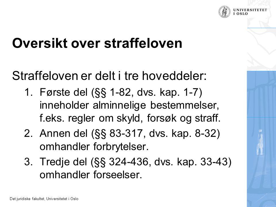 Det juridiske fakultet, Universitetet i Oslo Oversikt over straffeloven Straffeloven er delt i tre hoveddeler: 1.Første del (§§ 1-82, dvs. kap. 1-7) i