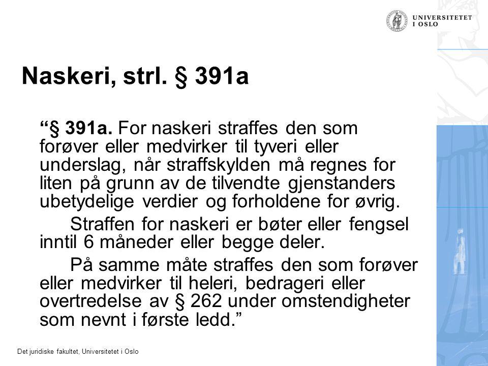 """Det juridiske fakultet, Universitetet i Oslo Naskeri, strl. § 391a """"§ 391a. For naskeri straffes den som forøver eller medvirker til tyveri eller unde"""