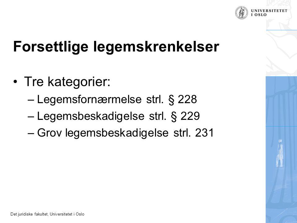 Det juridiske fakultet, Universitetet i Oslo Forsettlige legemskrenkelser •Tre kategorier: –Legemsfornærmelse strl. § 228 –Legemsbeskadigelse strl. §