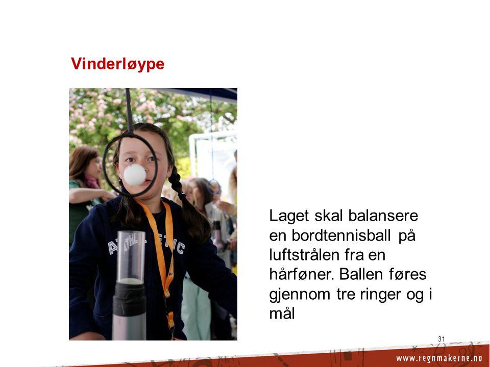Vinderløype 31 Laget skal balansere en bordtennisball på luftstrålen fra en hårføner.