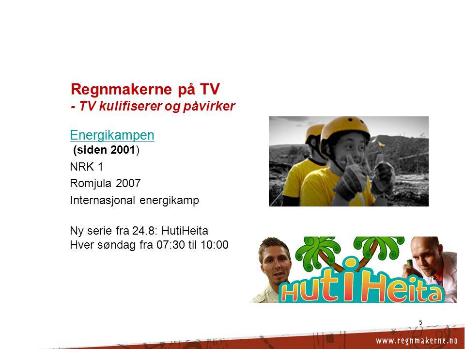 5 Regnmakerne på TV - TV kulifiserer og påvirker Energikampen Energikampen (siden 2001) NRK 1 Ny serie fra 24.8: HutiHeita Hver søndag fra 07:30 til 10:00 Energikampen Energikampen ( Romjula 2007 Internasjonal energikamp