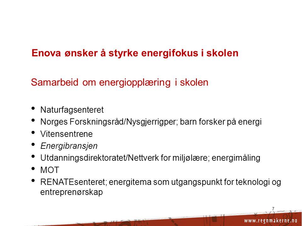 7 Enova ønsker å styrke energifokus i skolen Samarbeid om energiopplæring i skolen • Naturfagsenteret • Norges Forskningsråd/Nysgjerrigper; barn forsker på energi • Vitensentrene • Energibransjen • Utdanningsdirektoratet/Nettverk for miljølære; energimåling • MOT • RENATEsenteret; energitema som utgangspunkt for teknologi og entreprenørskap