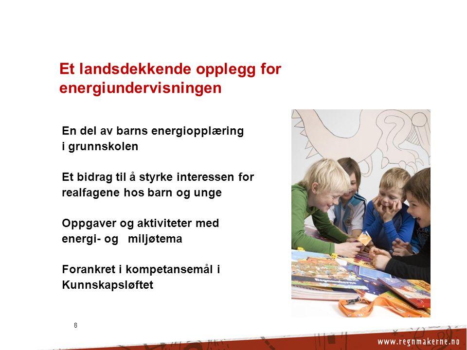 8 Et landsdekkende opplegg for energiundervisningen En del av barns energiopplæring i grunnskolen Et bidrag til å styrke interessen for realfagene hos barn og unge Oppgaver og aktiviteter med energi- og miljøtema Forankret i kompetansemål i Kunnskapsløftet