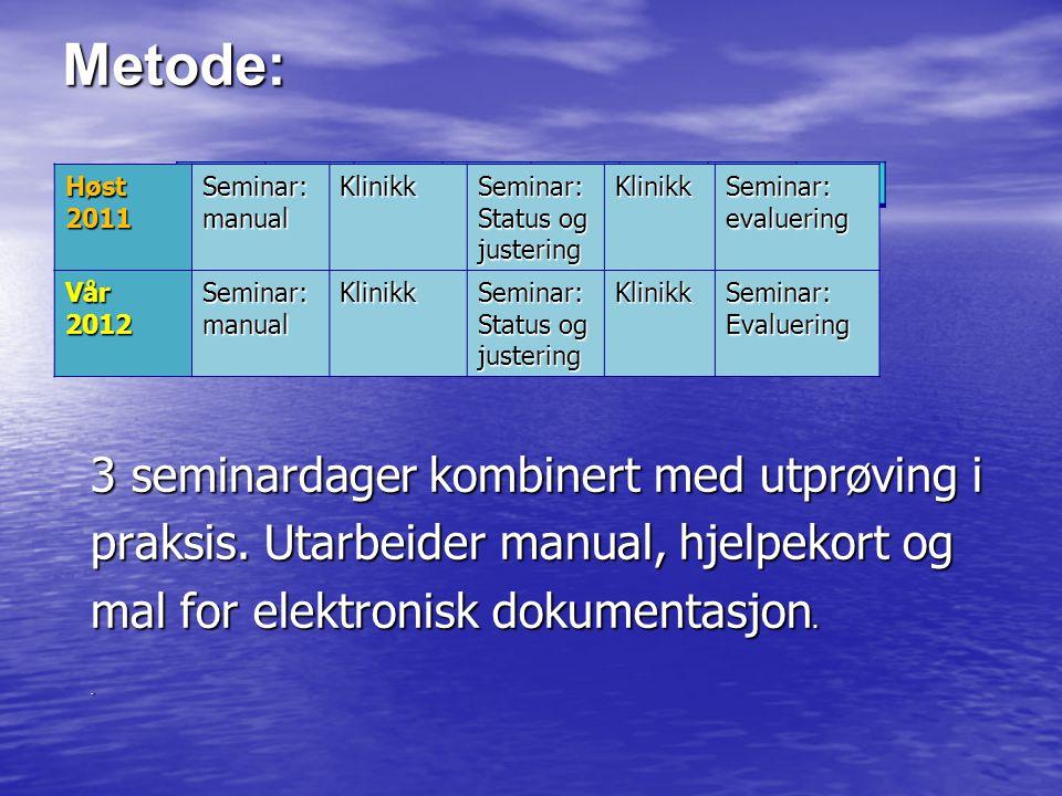 Metode: 3 seminardager kombinert med utprøving i praksis. Utarbeider manual, hjelpekort og mal for elektronisk dokumentasjon.. Høst 2011 Seminar:manua